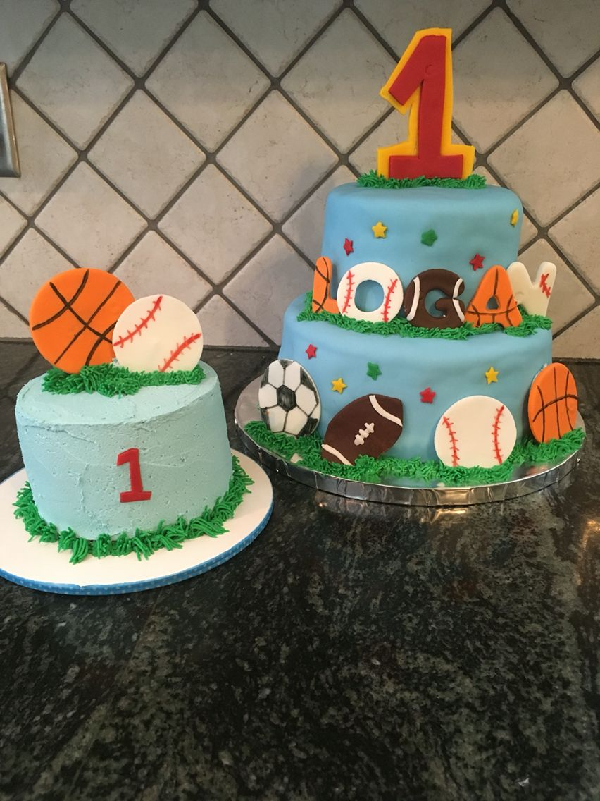 Pleasing First Birthday Boy Sports Cake With Smash With Images Sports Funny Birthday Cards Online Alyptdamsfinfo
