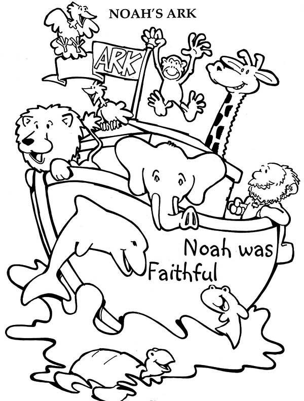 Noahs Ark Cheerful Animals in the Noahs Ark Voyage Coloring Page