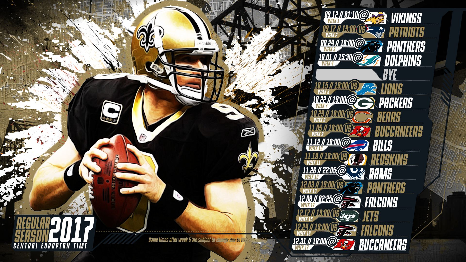 Schedule wallpaper for the New Orleans Saints Regular