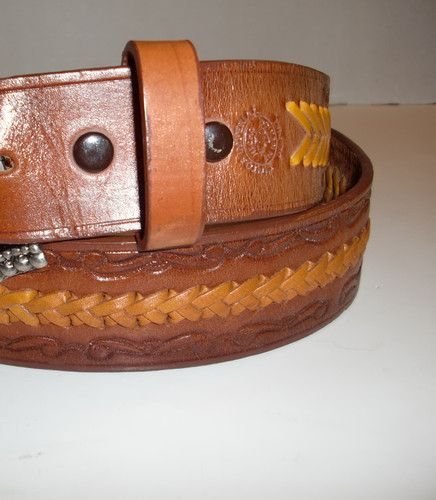Vintage Cintos Imperial Tooled Laced Leather Western Cowboy Belt Men s Size  38   eBay e4b33c89013