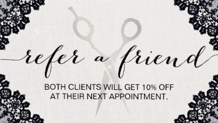 Hair stylist shears vintage black laced salon referral business girly any purpose friend referral cards reheart Images