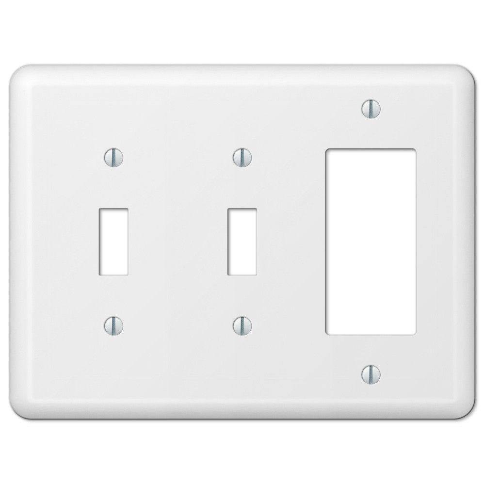 Amerelle Devon 935ttrw White Double Toggle Switch Gfci Rocker Wall Plate Cover Combo Wall Switch Plates Residential Lighting Plates On Wall Switch Plates Decor