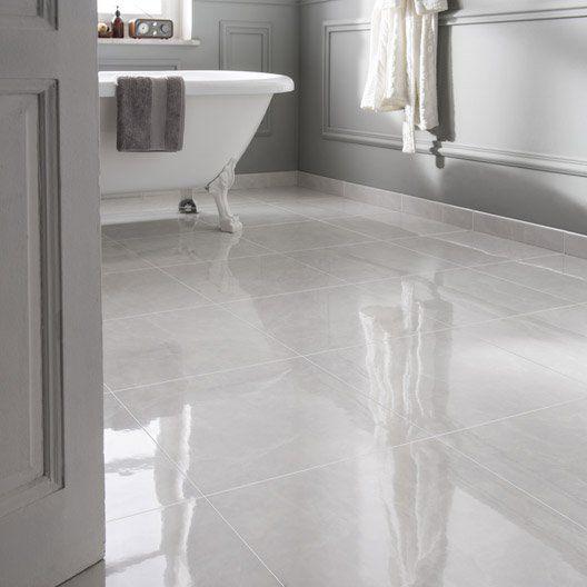 Bon Carrelage Sol Et Mur Blanc Effet Marbre Olympie L.45 X L.45 Cm