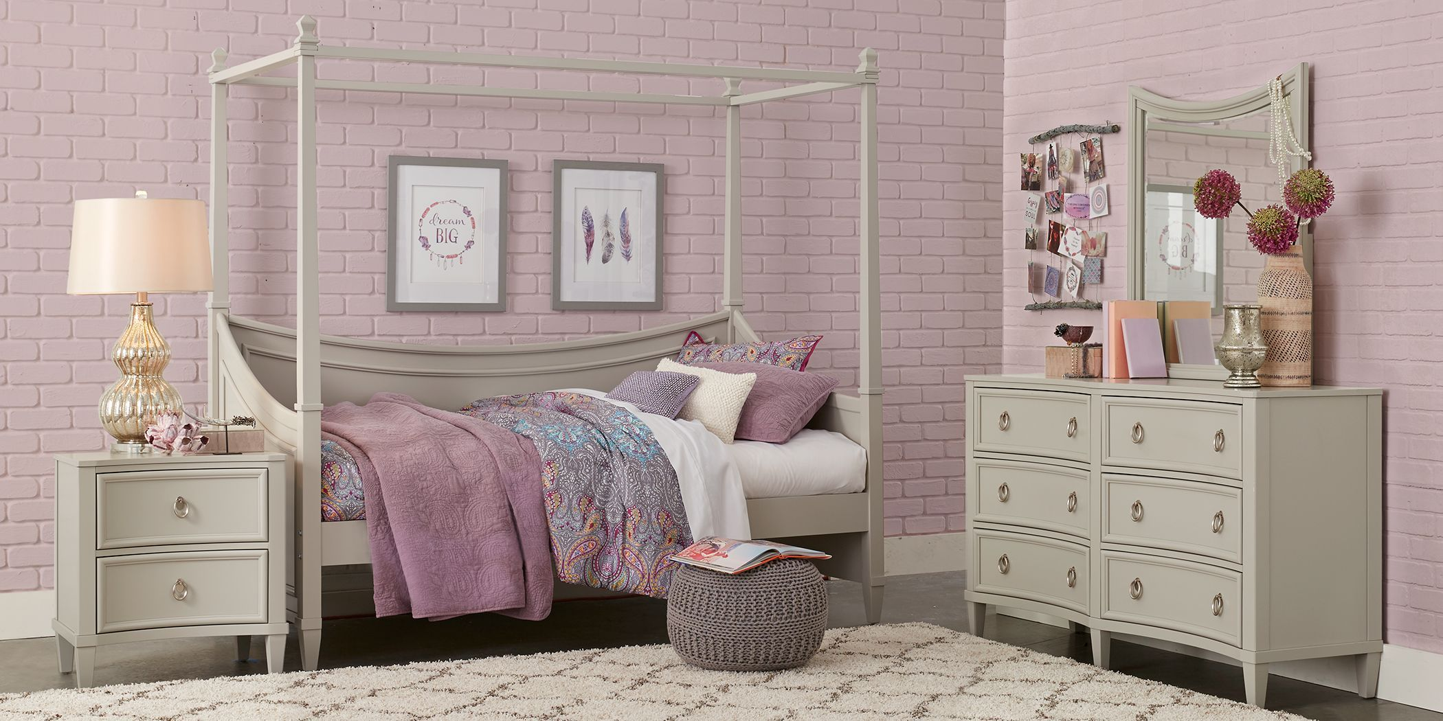 Jaclyn Place Gray 4 Pc Canopy Daybed Bedroom Home decor