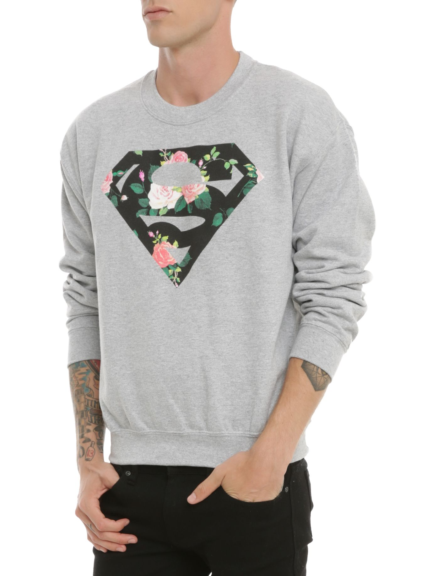 DC Comics Superman Floral Logo Crewneck Sweatshirt | Hot Topic ...