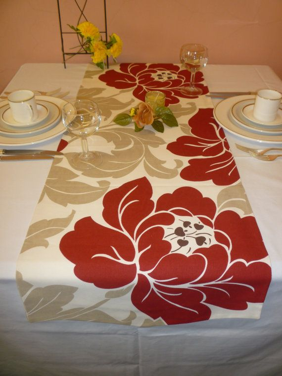 Funky Table Runner Deep Red Taupe Cream Big Flowers Over 6ft (2mts Long 78