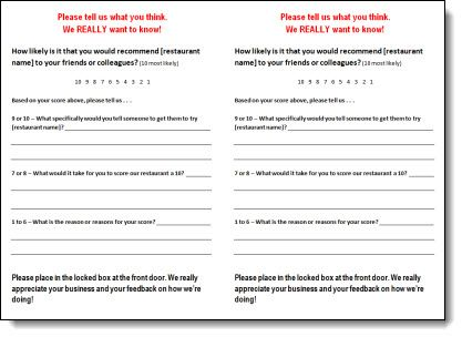 Restaurant Comment Card Template   Garden Bar