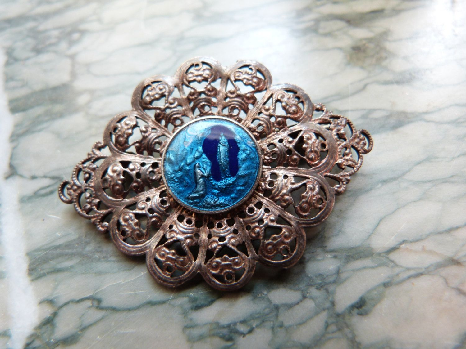 Antique French Religious Brooch Pin Blue Enamel Miraculous Medal Our Lady Of  Lourdes Holy Virgin Mary, Filigree Brooch Our Holy Mother Marie