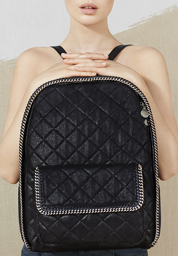 794529fd705f Classic backpack style gets a Stella McCartney update in our signature Falabella  style reworked in coveted quilting fabric.