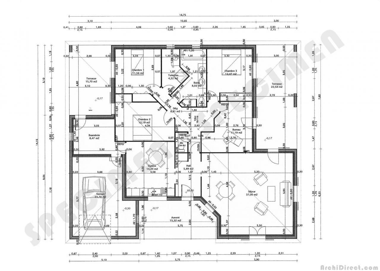 plan maison plain pied 3 chambres en u (avec images) | Plan de maison gratuit, Plan maison ...