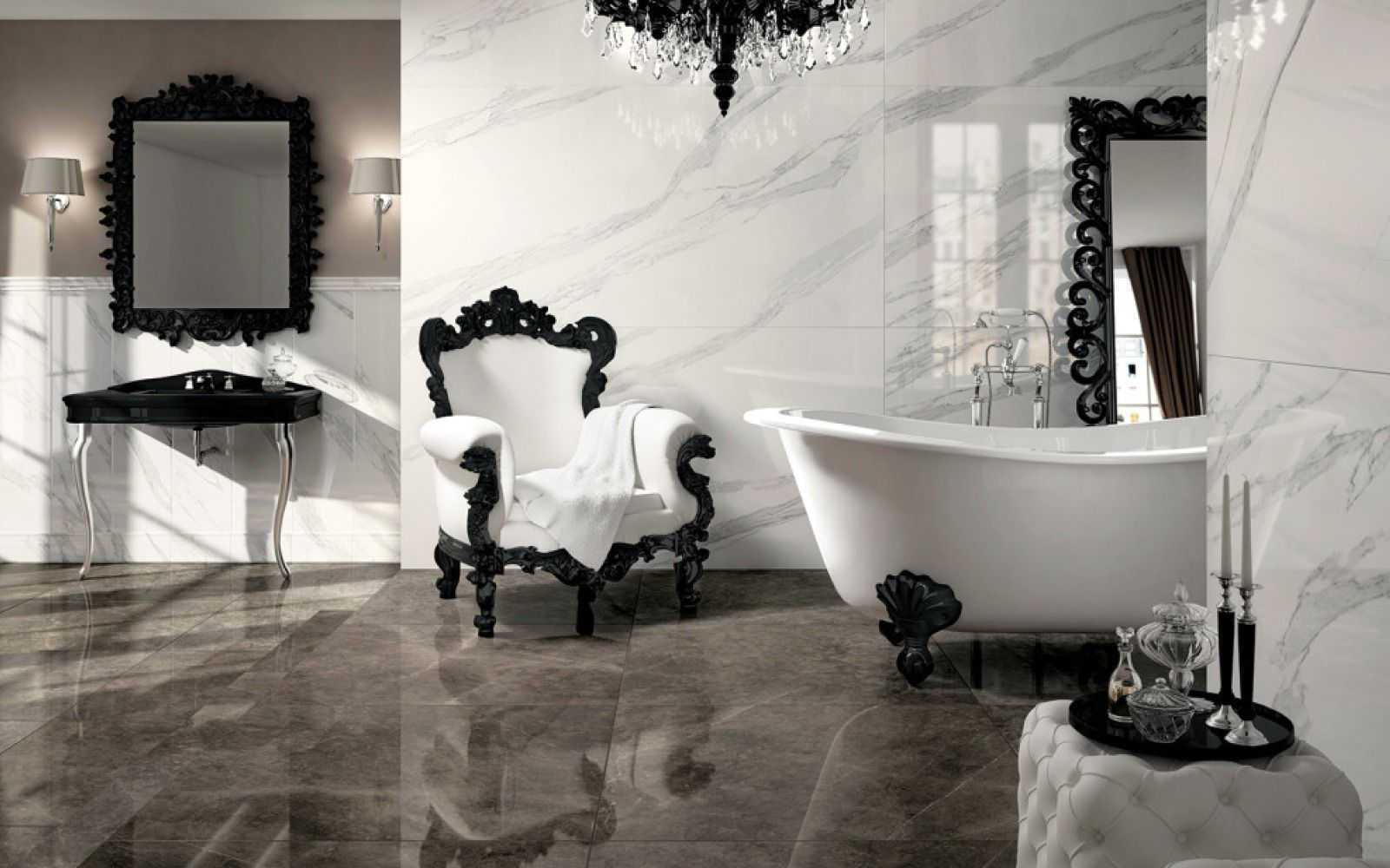 Stunning black white bathroom with gray accents bathrooms stunning black white bathroom with gray accents polished porcelain tilesporcelain dailygadgetfo Gallery