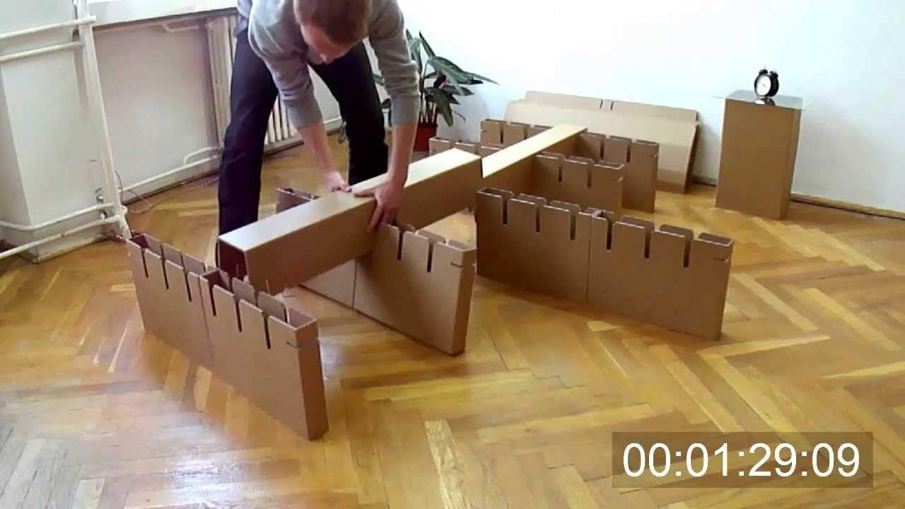 Cardboard Bed Assembly - YouTube | Cardboard furniture | Diy
