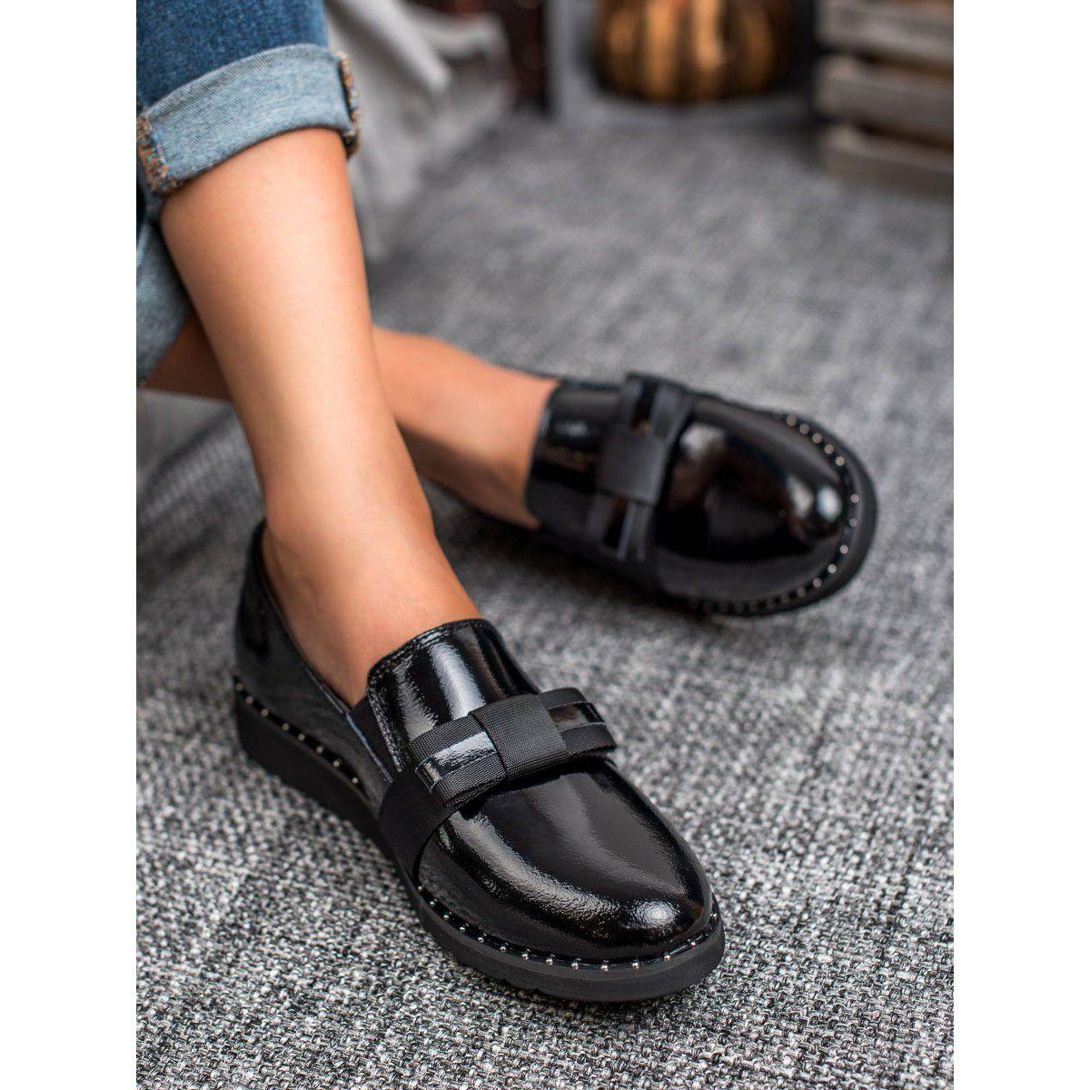 Filippo Wsuwane Obuwie Skorzane Czarne Dress Shoes Men Oxford Shoes Shoes