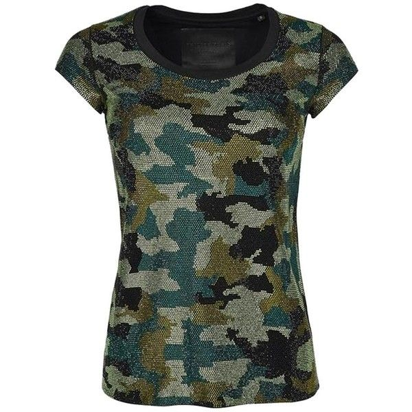 """Pre-owned Philip Stein """"here We Go"""" #40049 T Shirt Black ($579) ❤ liked on Polyvore featuring tops, t-shirts, black, camoflauge shirt, embellished tee, embellished shirt, short t shirt and camo shirt"""