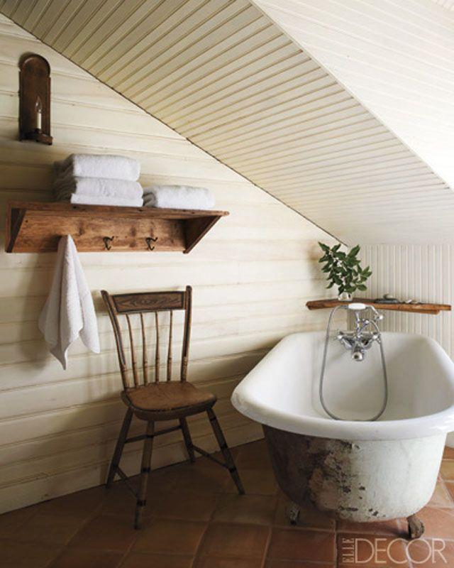 beadboard ceiling tile floor clawfoot bathtub pine shelf | The Loo ...