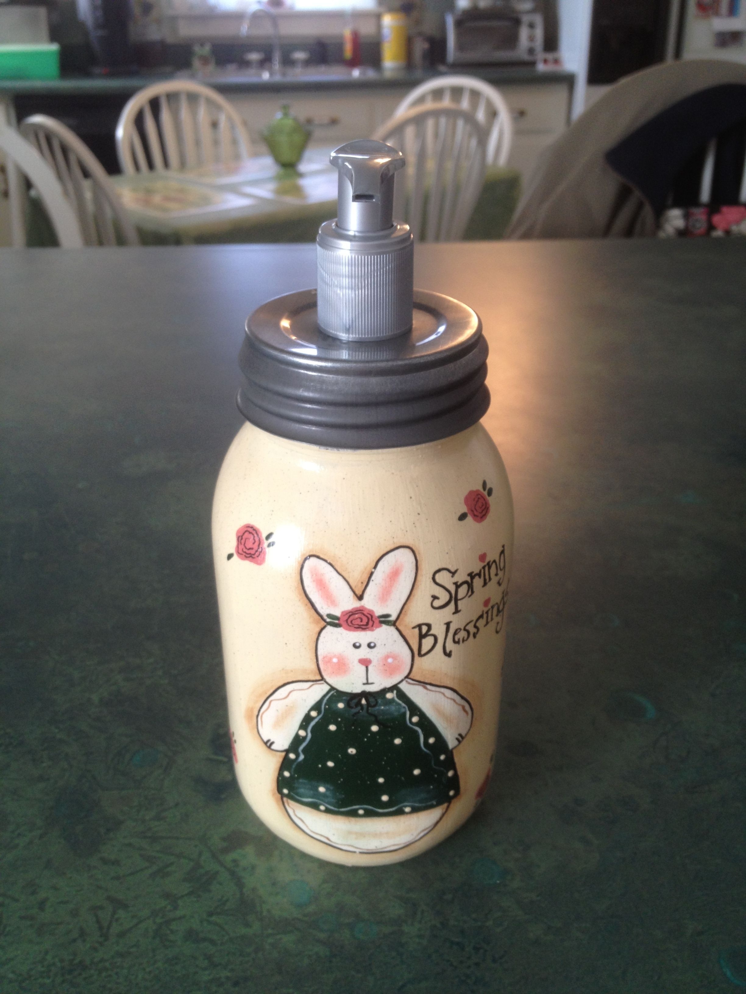mason jar lotion holder. Cute!