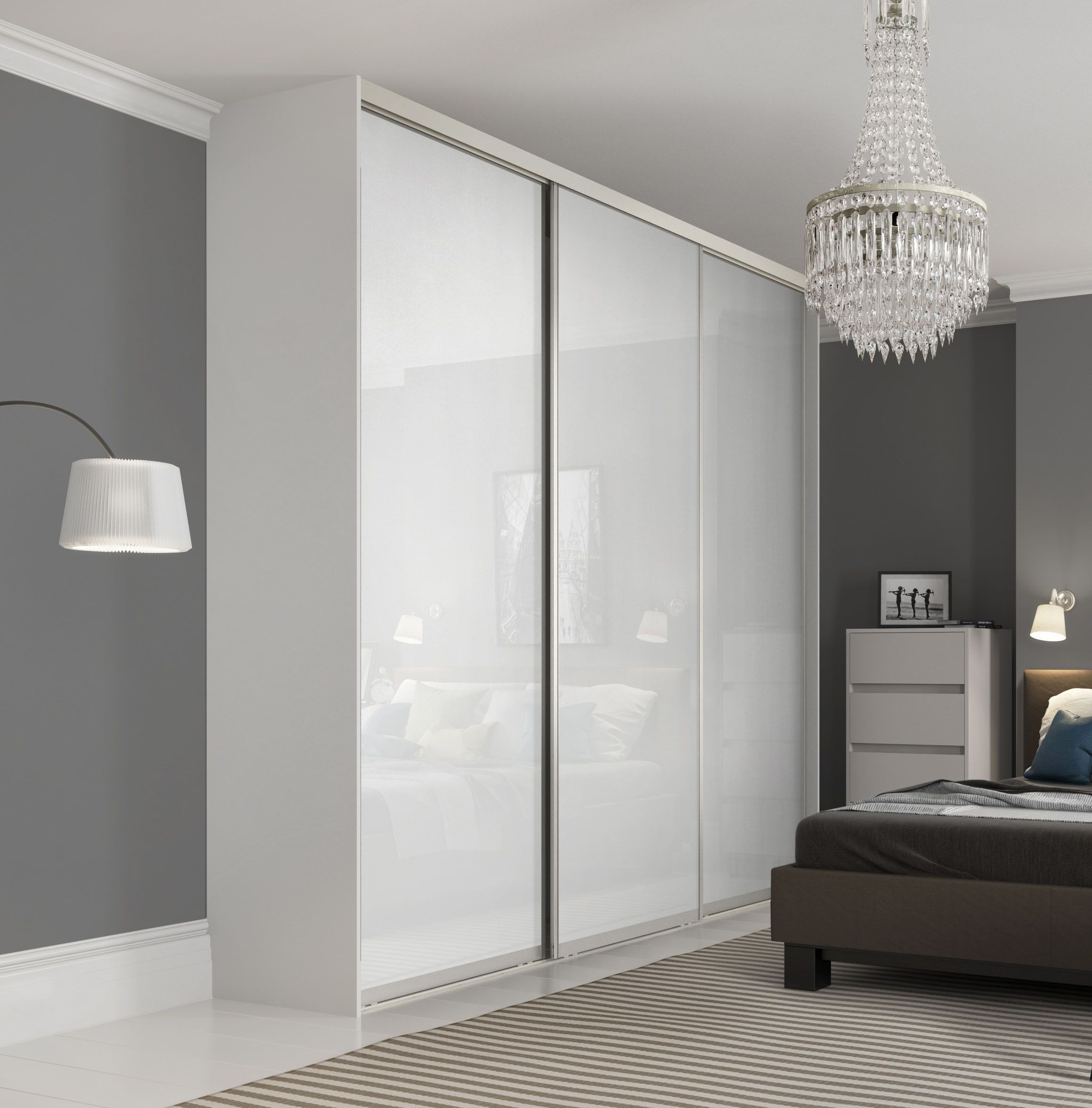 Premium Midi single panel sliding wardrobe doors in Pure White glass with Satin Silver frame