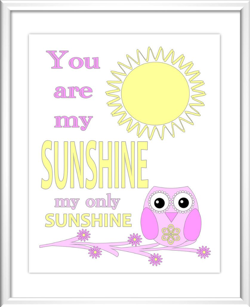Baby Nursery Wall Art - Digital Art - You Are My Sunshine - Yellow ...
