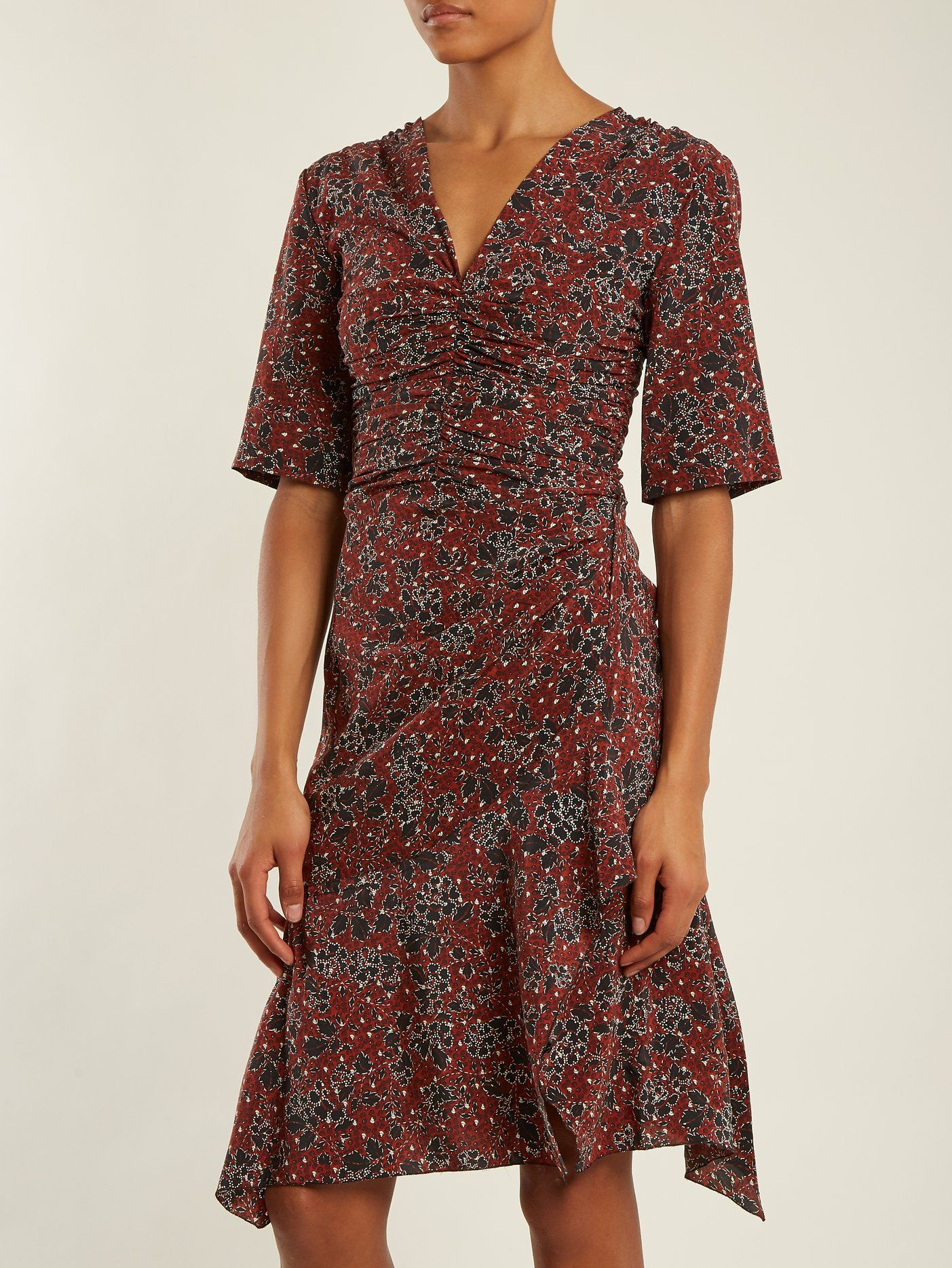 41155465a9 Click here to buy Isabel Marant Brodie ruched floral-print stretch-silk  dress at MATCHESFASHION.COM