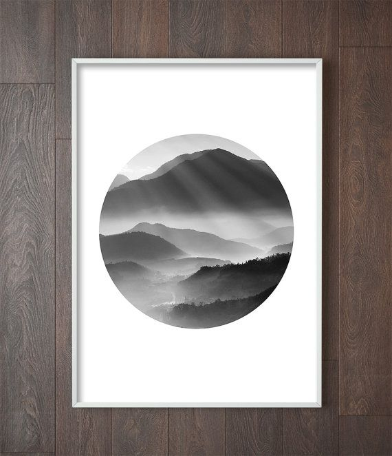Minimalist mountain print scandinavian print black and white print art prints for the