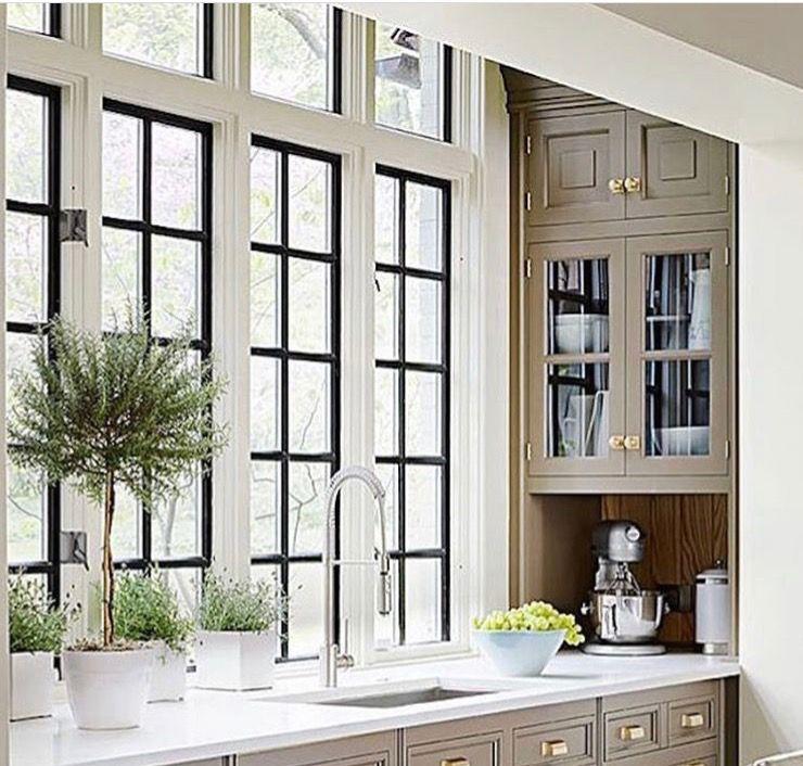 windows | Taupe kitchen cabinets, Taupe kitchen, Kitchen ...