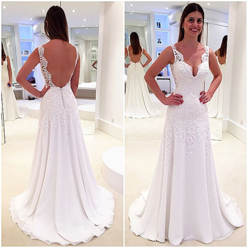 New Style Wedding Dress V Neck Backless Tank Sleeves With Lace Appliques A Line