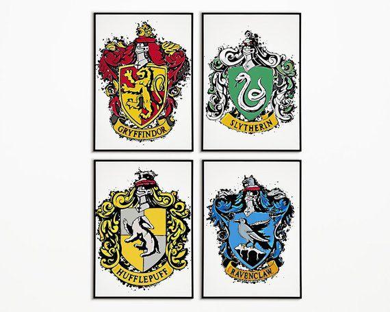 INSTANT DOWNLOAD Harry Potter Banner Printable Wall Art Hogwarts House Crest