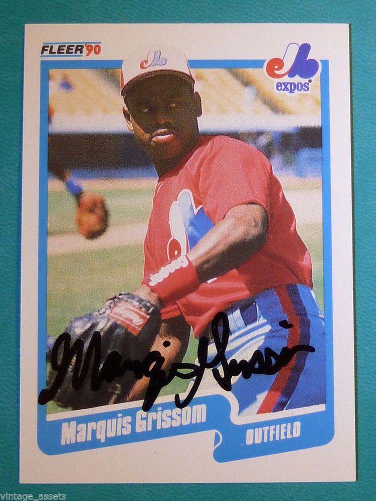 1990 fleer marquis grissom hand signed auto graph rookie