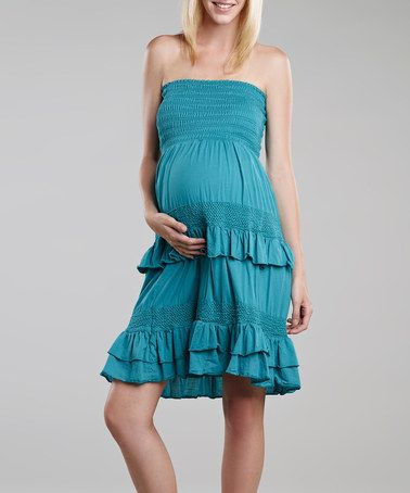 Take a look at this Turquoise Crochet Maternity Convertible Dress by Maternal America on #zulily today!