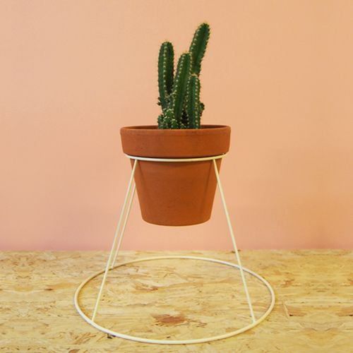 Wire Pot made out of old lamp shades.