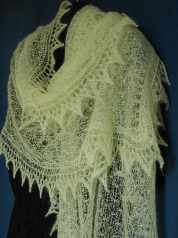 Knitted Lace Shawl in Fine Lemon Kid Mohair.   for my wedding ...