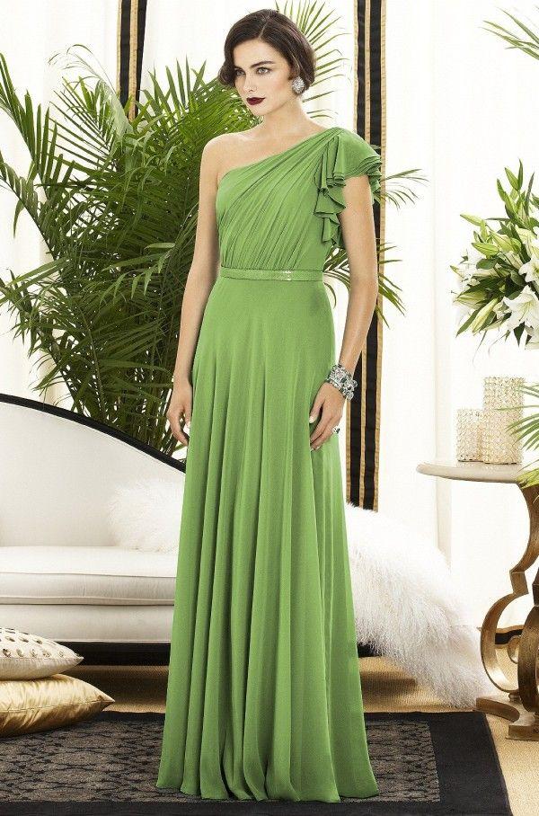 Chiffon V-Neck Wrapped Bodice Bridesmaid Dress with Satin Belt ...