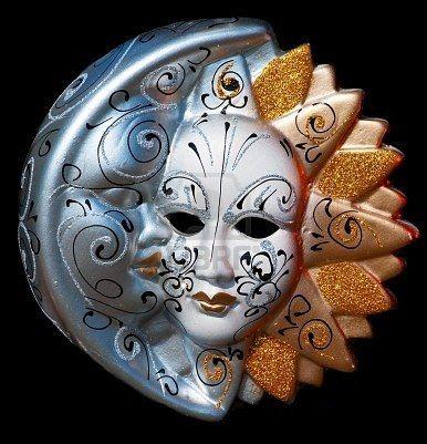 "Maschera veneziane /""SOLE LUNA ORO CRAQUELE grande/"" CARNEVALE VENEZIA"