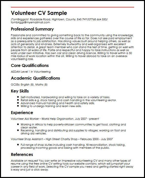 cv template volunteer experience