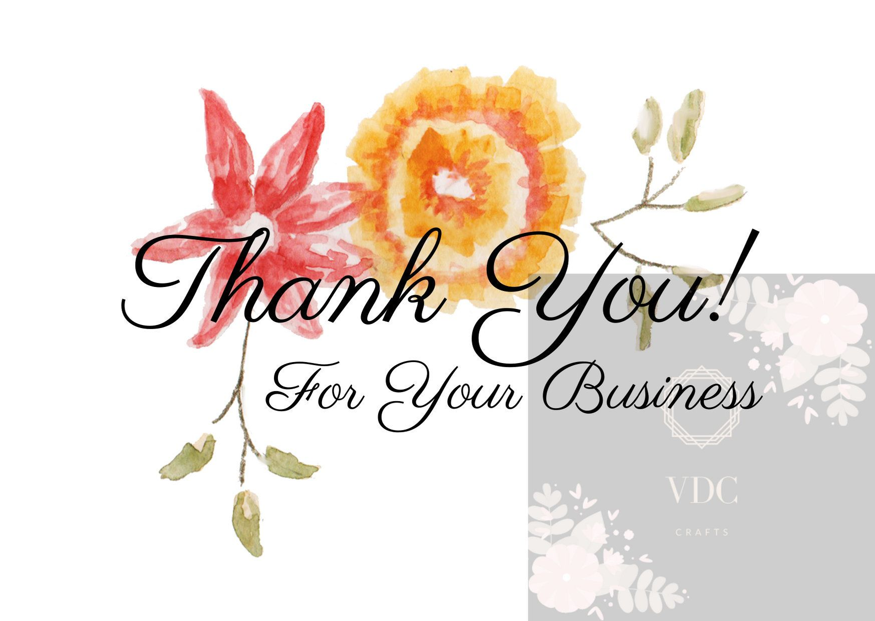 Thank You For Your Business- Thank You Card by VDCCrafter on Etsy #thank you card #floral thank you card #budiness thank you card #business card