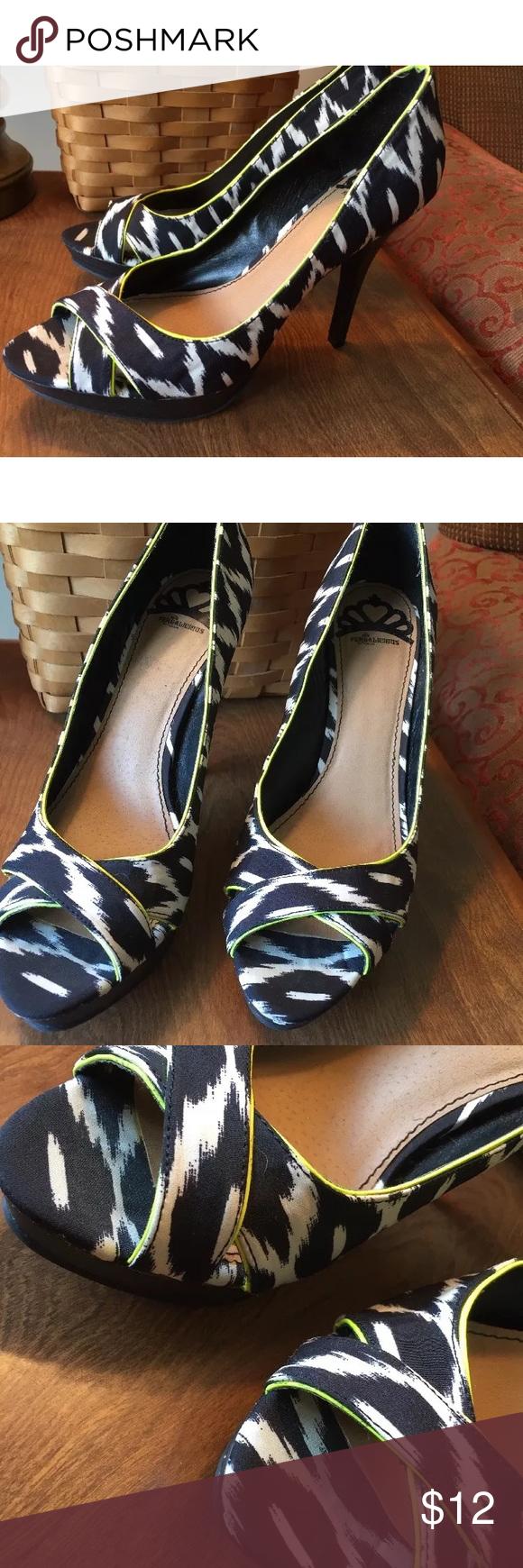 491517ab794 Black white neon platform heels Black White Neon trim Open Toe High Heels  Platform Shoes Sz