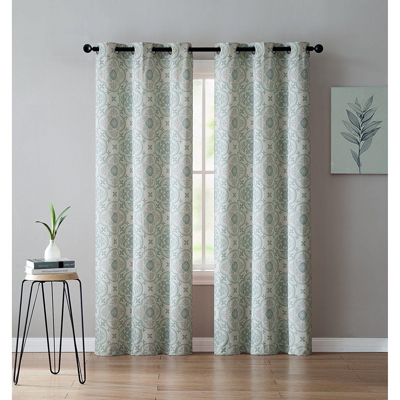 Girls seafoam green medallion window curtain inch pair panel