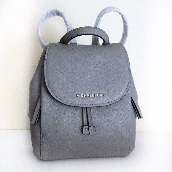 bfba7bdfdd001a Michael Kors Riley Medium Flap Backpack ~ Ash Gray Leather Drawstring NWT  Grey #MichaelKors #Backpack