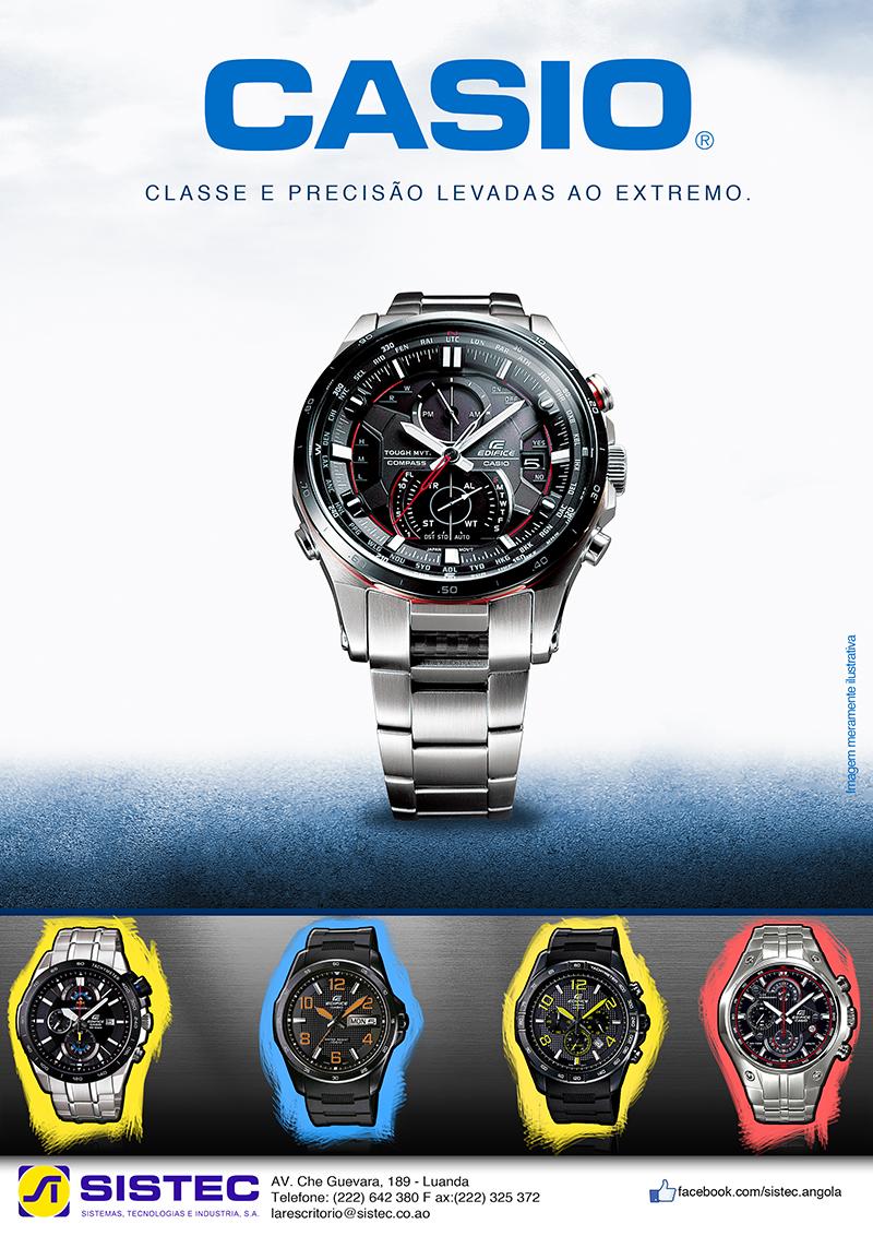 Anúncio para o Jornal de Angola dos relógios casio.