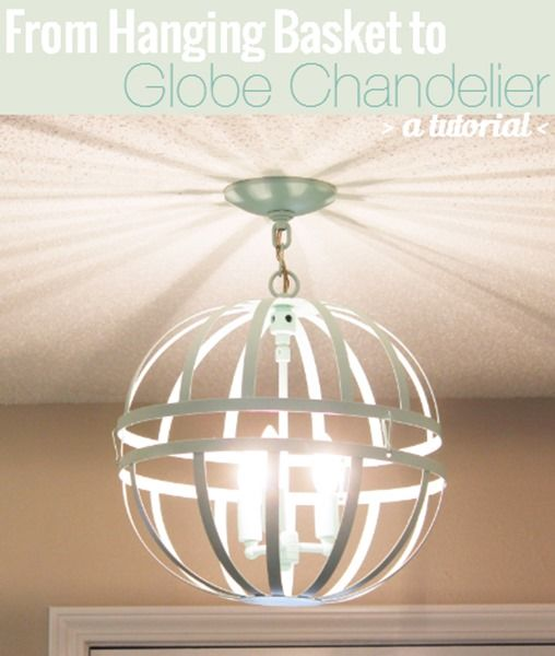 Diy globe chandelier made with hanging plant baskets bean in love diy globe chandelier made with hanging plant baskets bean in love aloadofball Images