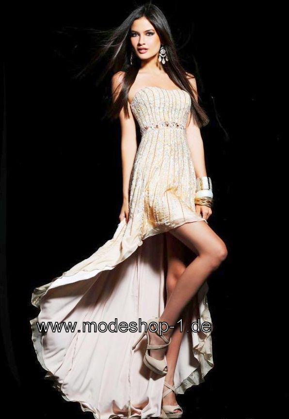 Party Kleid Vokuhila Abendkleid in Beige Creme Champagne Im Mode ...