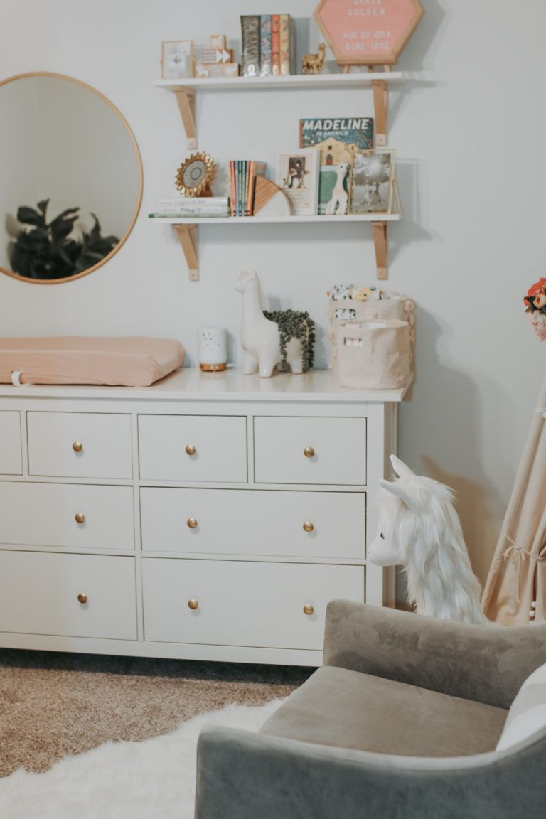 Pink And White Llama Inspired Nursery With Images Nursery Shelves