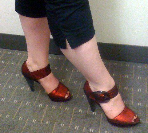 4f00798b3e9 Red Aldo sandals with a smoky Lucite heel.