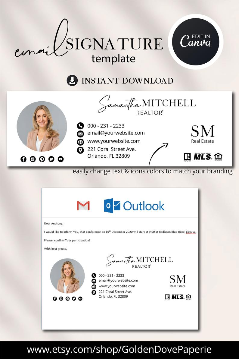 Realtor Email Signature With Logo And Picture Gmail Etsy Email Signature Design Email Signature Templates Email Signatures