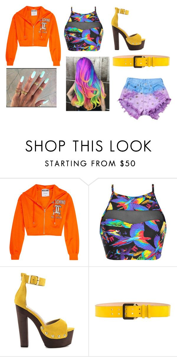 """""""Cute rainbow outfit"""" by unicorn-636 ❤ liked on Polyvore featuring Moschino, Blue Man, Luichiny, Dsquared2 and Runwaydreamz"""
