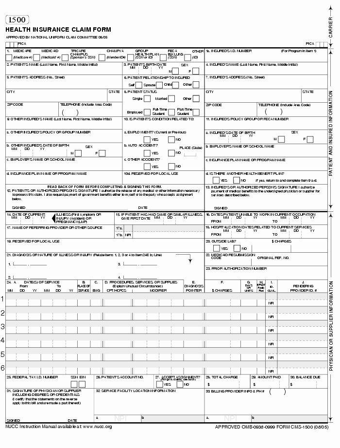 Medical Claim form Template Luxury Cms 1500 Claim form ...