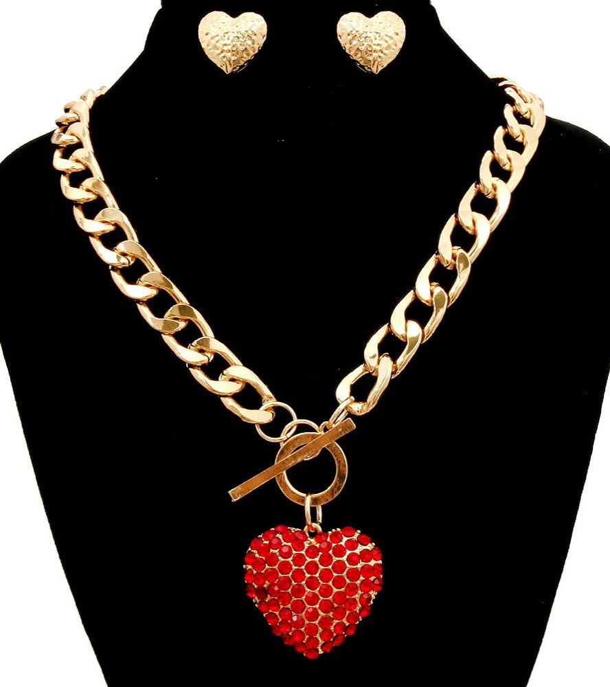 Iced red heart crystal rhinestone gold chunky curb chain necklace