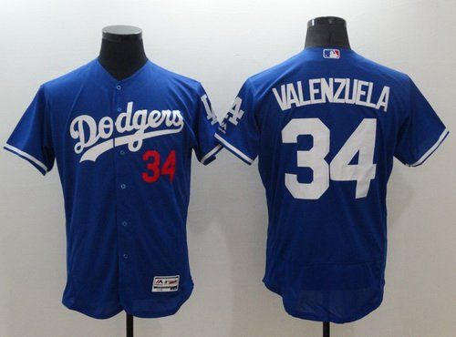 Mens Los Angeles Dodgers 34 Fernando Valenzuela Retired Blue 2016 Flexbase  Majestic Baseball Jersey ... e3f94acf0