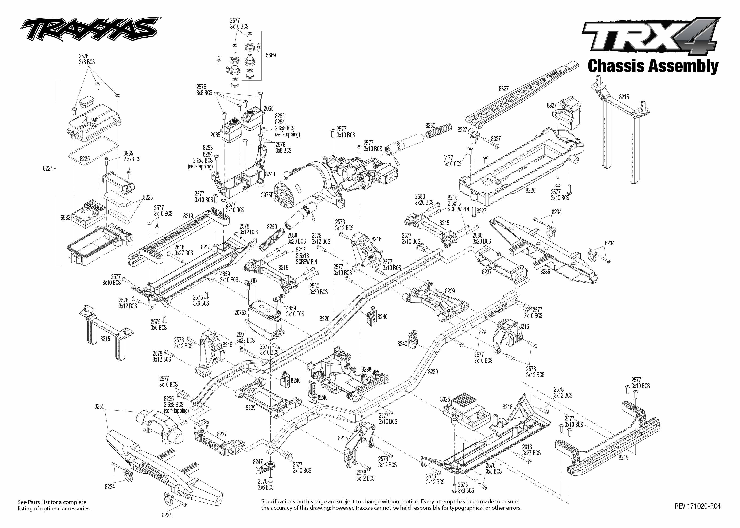 63eba1034f4 TRX-4 Scale and Trail Crawler (82056-4) Chassis Assembly Exploded View