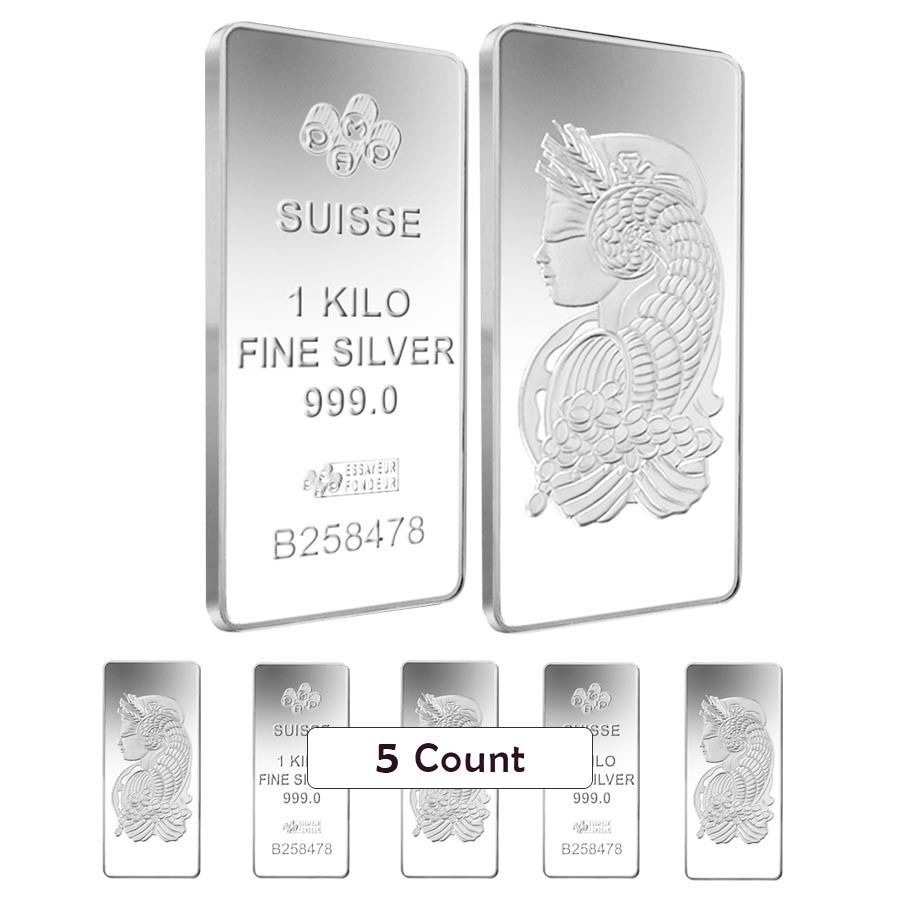 Lot Of 5 1 Kilo Pamp Suisse Lady Fortuna Silver Bar 999 Fine Silver Bars Gold Bullion Bars Silver Bullion